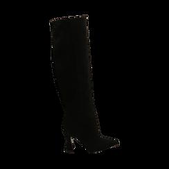Stivali neri in microfibra, tacco 10 cm, Primadonna, 16G890321MFNERO035, 001 preview