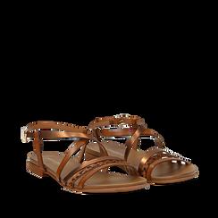 Sandali cuoio in eco-pelle, Primadonna, 13B915126EPCUOI035, 002a