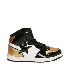 Sneakers in vernice nero/oro, Primadonna, 182621186VENEOR035, 001a