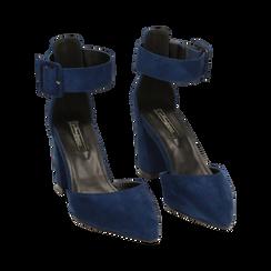 Décolleté blu in microfibra, tacco 8 cm, Primadonna, 164823062MFBLUE037, 002 preview