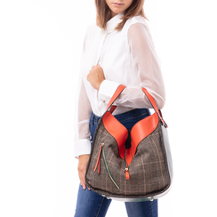 Borsa grande arancio in eco-pelle con dettagli in tweed , Borse, 142400200EPARANUNI, 002 preview