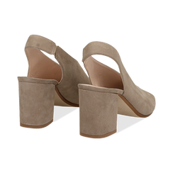 Slingback taupe in camoscio, tacco 8 cm , Primadonna, 13D602014CMTAUP036, 004 preview
