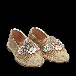 Espadrillas beige in rafia con pietre, Chaussures, 154902098RFBEIG036, 002a