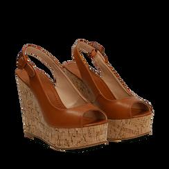 Sandali platform cuoio in eco-pelle, zeppa in sughero 12 cm , Primadonna, 134907982EPCUOI035, 002a