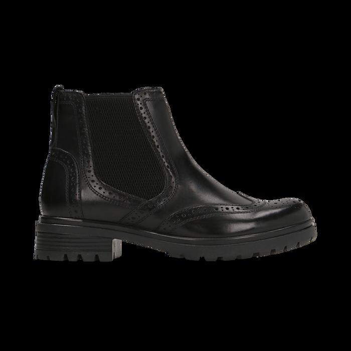 Chelsea Boots eleganti in vera pelle nera, Scarpe, 127710620PENERO