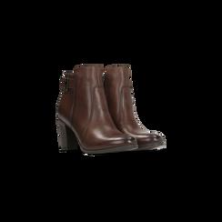 Tronchetti marroni in vera pelle con cinturino, tacco 6 cm, Scarpe, 127718308PEMARR, 002 preview