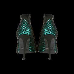 Décolleté verdi effetto mirror con rete a calzino, tacco stiletto 10,5 cm, Primadonna, 122167245SPVERD036, 003 preview