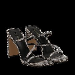 Sandali con punta quadrata nero/bianchi in eco-pelle, effetto snake skin, tacco 10 cm, Scarpe, 131785322PTNEBI035, 002a