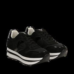 Sneakers nere in microfibra con maxi-suola platform, Scarpe, 132899261MFNERO035, 002a