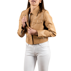 Veste courte beige en simili-cuir, Vêtements, 156516138EPBEIGM, 001 preview