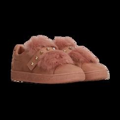 Sneakers rosa nude slip-on con dettagli faux-fur e borchie, Primadonna, 129300023MFNUDE036, 002 preview