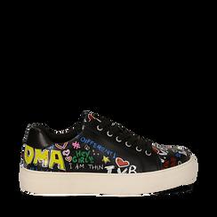 Sneakers nere in eco-pelle con scritte cartoon , Scarpe, 139301164EPNERO035, 001a