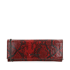 Pochette piatta rossa in eco-pelle snake print, Primadonna, 145122510PTROSSUNI, 001a