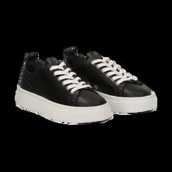 Sneakers nere in eco-pelle, Scarpe, 132500778EPNERO036, 002 preview