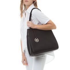 Maxi-bag nera in eco-pelle , Borse, 135786734EPNEROUNI, 002a