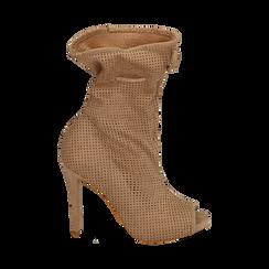 Bottines beige en microfibre perforée, talon de 11 cm, Chaussures, 152182886MFBEIG035, 001 preview