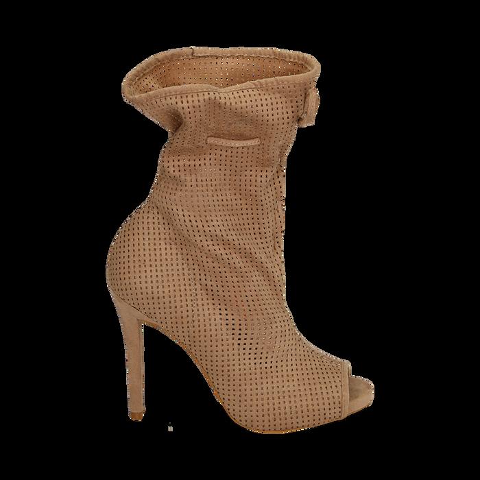 Bottines beige en microfibre perforée, talon de 11 cm, Chaussures, 152182886MFBEIG035
