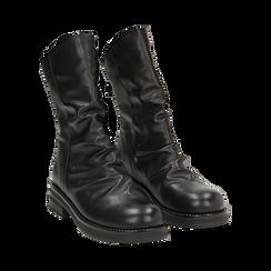 Ankle boots drappeggiati neri in eco-pelle, Stivaletti, 14A719675EPNERO035, 002 preview