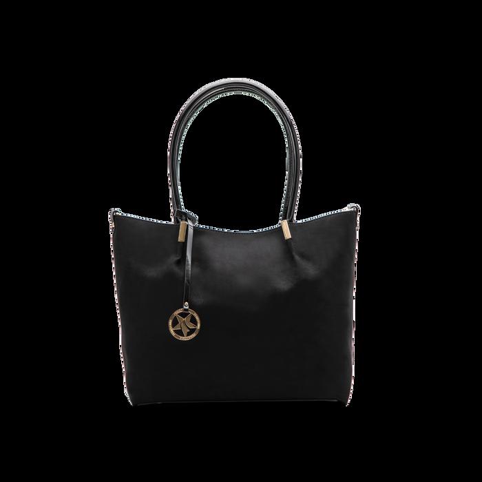 Maxi-bag a spalla nera in microfibra scamosciata, Saldi, 125702033MFNEROUNI