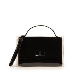 Mini bag nera in microfibra e pvc, NUOVI ARRIVI, 155122209MFNEROUNI, 001a