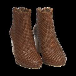 Ankle boots cuoio in pelle intrecciata, tacco 7,50 cm, Primadonna, 15C515018PICUOI036, 002 preview