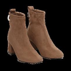 Ankle boots taupe in microfibra, tacco trapezio 6 cm , Stivaletti, 142707121MFTAUP035, 002a
