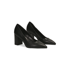 Décolleté nere con punta affusolata, tacco 7 cm, 128485162EPNERO035, 002