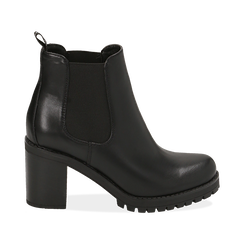 Chelsea boots neri, tacco 8 cm , OUTLET, 160637851EPNERO035, 001