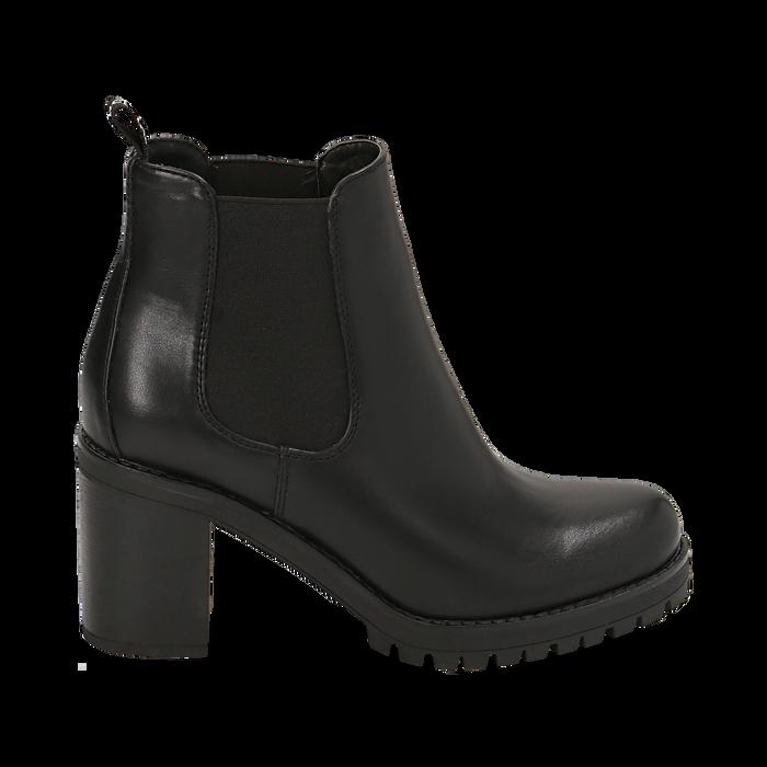 Chelsea boots neri, tacco 8 cm , PROMOZIONI, 160637851EPNERO040