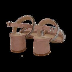 Sandali nude in microfibra con strass, tacco 6,5 cm, Primadonna, 152909505MPNUDE035, 004 preview