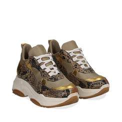 Dad shoes beige in vera pelle, suola 5 cm , Scarpe, 13A600999PUBEIG036, 002a