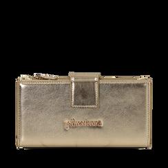 Portafogli oro in eco-pelle laminata, Primadonna, 155122158LMOROGUNI, 001a