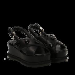 Sandali platform neri in eco-pelle con gemme, zeppa 7 cm , Scarpe, 132147682EPNERO035, 002a