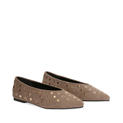 Ballerine taupe in microfibra scamosciata e mini-borchie, tacco basso, Primadonna, 124991821MFTAUP037, 002a