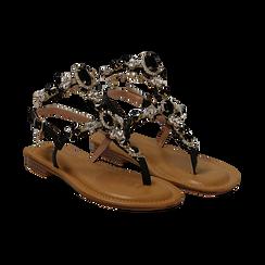 Sandali gioiello flat neri in eco-pelle, Primadonna, 134988245EPNERO036, 002 preview