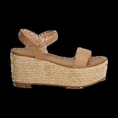 Sandali platform cuoio in eco-pelle, zeppa in corda 8 cm, Saldi Estivi, 134983293EPCUOI035, 001 preview