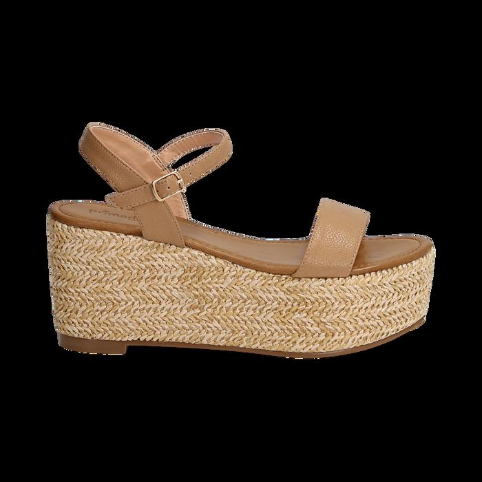 Sandali platform cuoio in eco-pelle, zeppa in corda 8 cm, Saldi Estivi, 134983293EPCUOI035