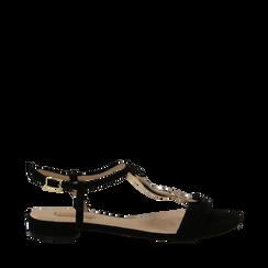 Sandali neri in microfibra con dettaglio gold, Primadonna, 139640157MFNERO035, 001a