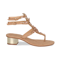 Sandali gioiello infradito nude in microfibra, tacco 6 cm, Primadonna, 134986238MFNUDE035, 001 preview