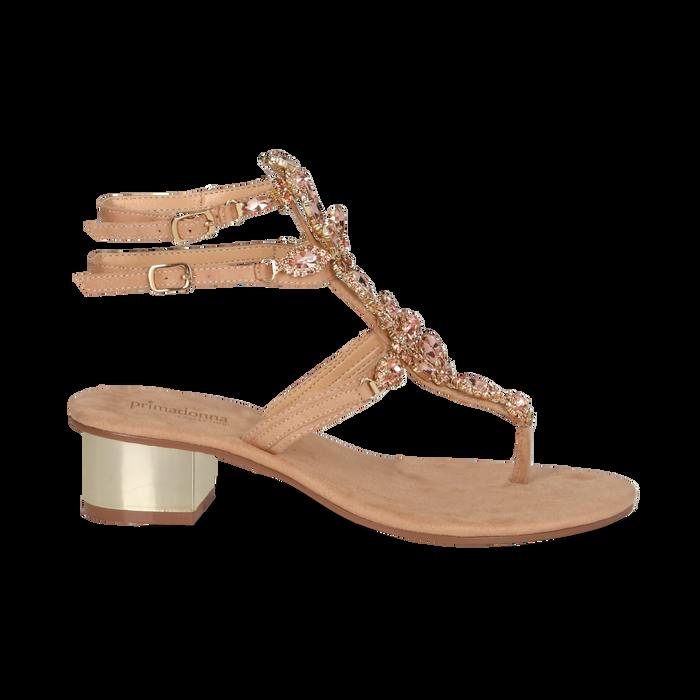 Sandali gioiello infradito nude in microfibra, tacco 6 cm, Primadonna, 134986238MFNUDE035