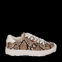 Sneakers beige in eco-pelle snake print, Sneakers, 152607101PTBEIG035, 001a