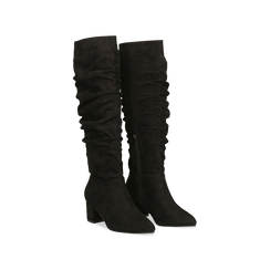 Stivali neri scamosciati con gambale drappeggiato, tacco quadrato medio 5 cm, Primadonna, 122707419MFNERO036, 002