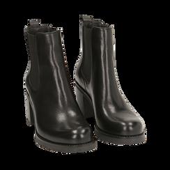 Chelsea boots neri in pelle, tacco 7,50 cm , Promozioni, 167734401PENERO035, 002 preview