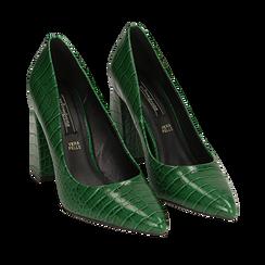 Décolleté verdi eco-pelle effetto coccodrillo, tacco 9,5 cm , Scarpe, 142186671CCVERD036, 002a