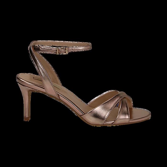 Sandali rosa in laminato, tacco 7 cm, Primadonna, 134819206LMROSA036