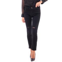 Jeans neri skinny con strappi, Primadonna, 14B411012TSNERO3XL, 001a