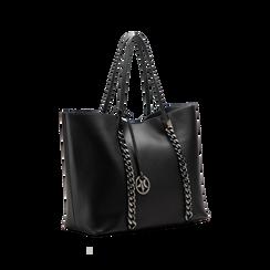 Borsa shopper nera in ecopelle con profilo catene, Saldi, 125702054EPNEROUNI, 003 preview