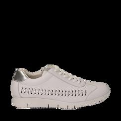 Sneakers bianche in eco-pelle , Scarpe, 130609571EPBIAN035, 001a