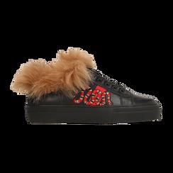 Sneakers nere con ricami animalier e dettagli in faux-fur, Scarpe, 126102020EPNERO036, 001 preview