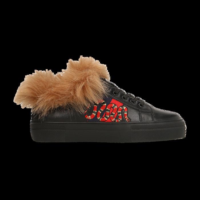 Sneakers nere con ricami animalier e dettagli in faux-fur, Scarpe, 126102020EPNERO036